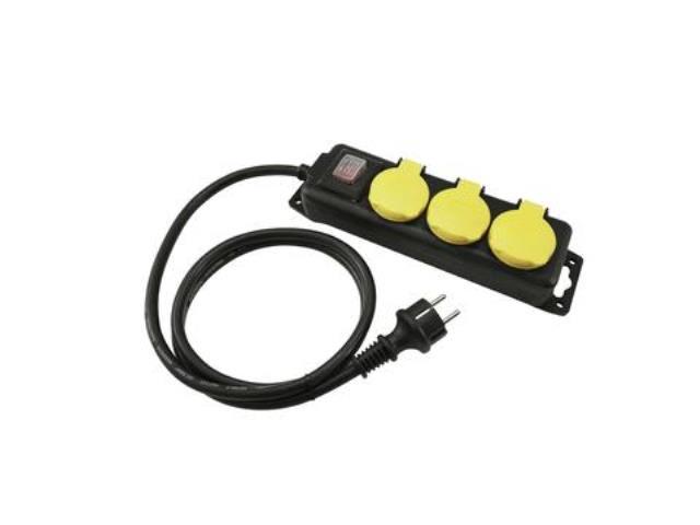 Distributor 3, 3x el. zásuvka, vypínač, IP44, černý, 1,4m