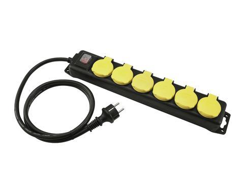 Distributor 6, 6x el. zásuvka, vypínač, IP44, černý, 5m