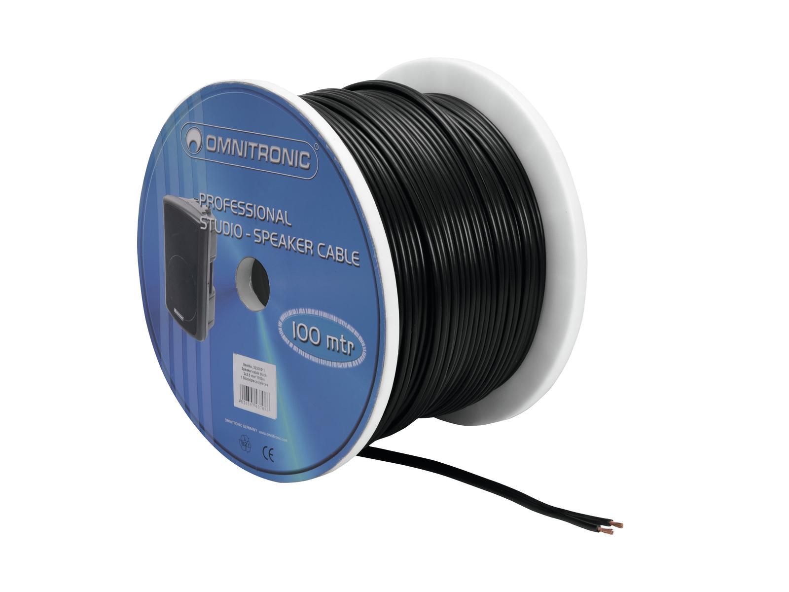 Kabel reproduktorový, 2x 2,5qmm, plochý černý, cena / m