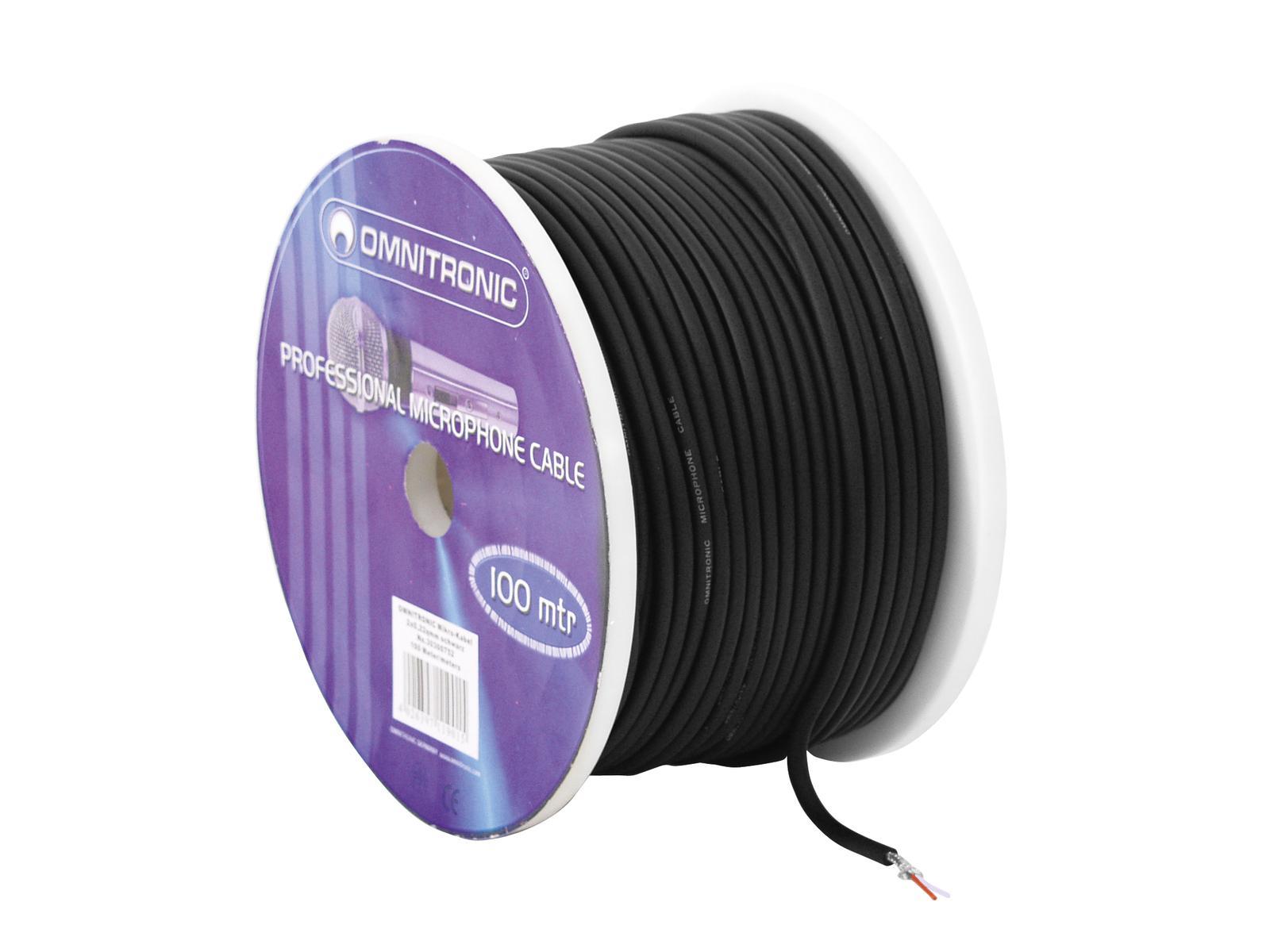 Omnitronic mikrofonní kabel, 2x 0,22qmm stíněný, černý, cena / m