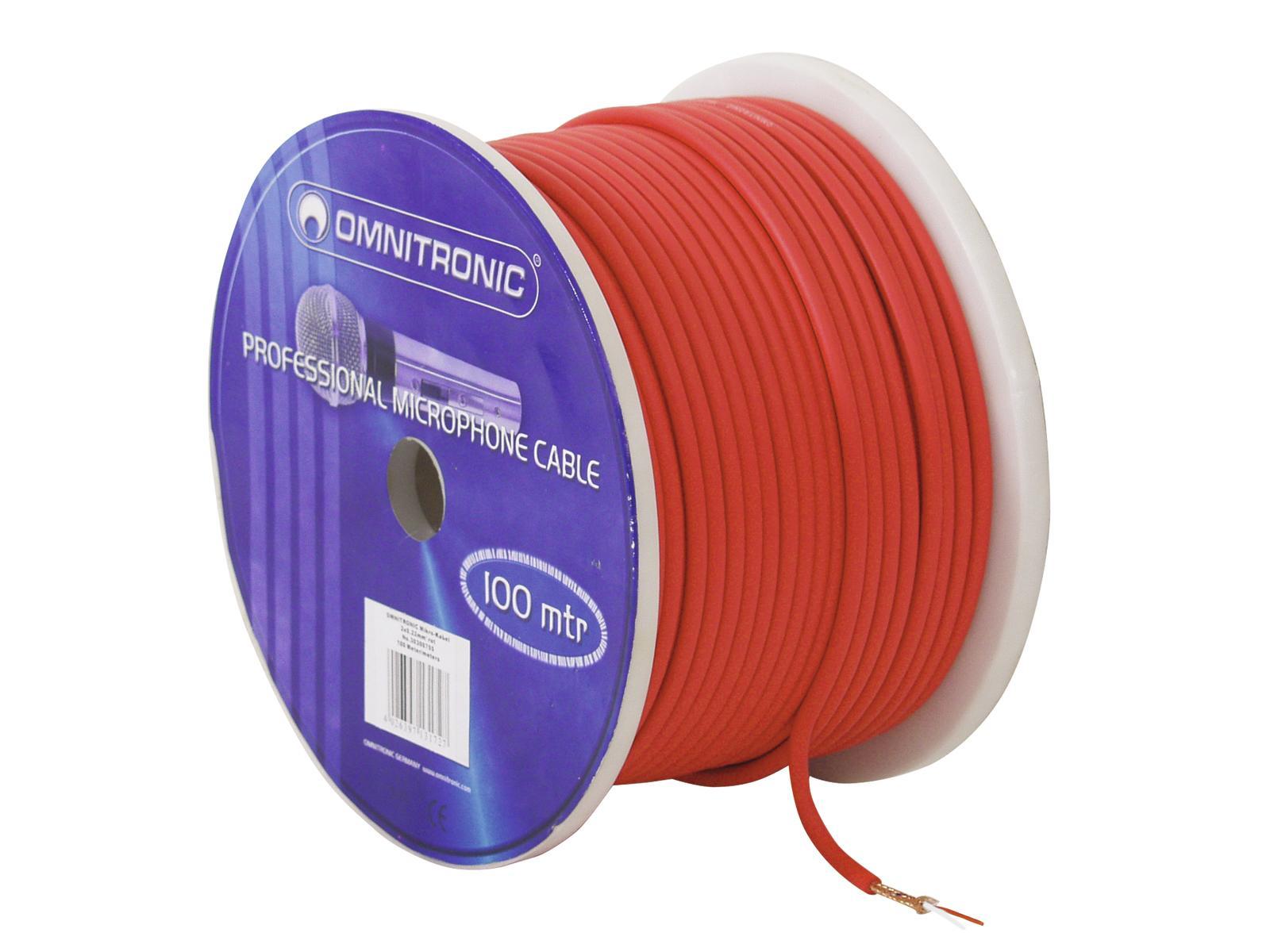 Omnitronic mikrofonní kabel, 2x 0,22qmm stíněný, červený, cena / m