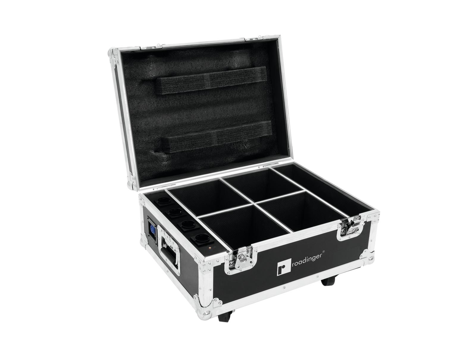 Roadinger transportní case pro 4x AKKU UP-4 QuickDMX s dobíjením