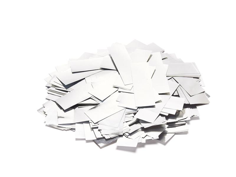 Tcm Fx pomalu padající obdélníkové konfety 55x18mm, bílé/stříbrné,