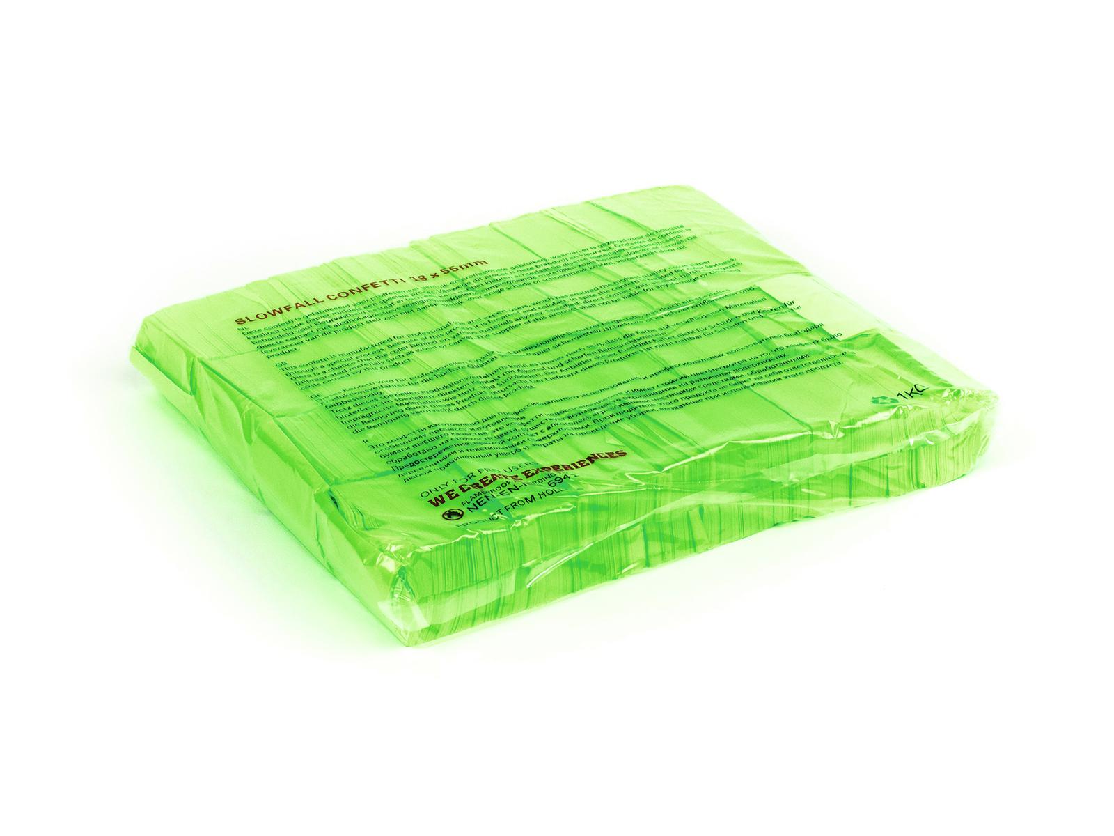 Tcm Fx pomalu padající obdélníkové konfety 55x18mm, neonové-zelené