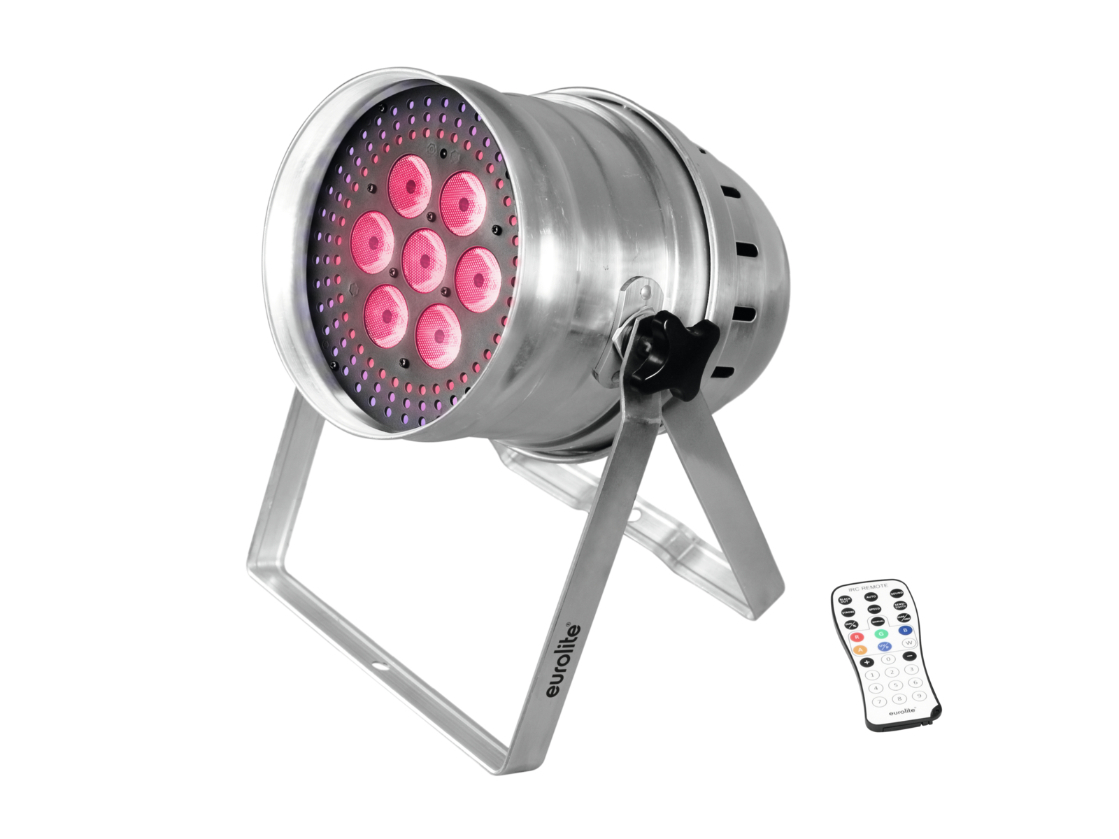 Eurolite LED PAR-64 Hypno, 7x12W HCL, krátký stříbrný