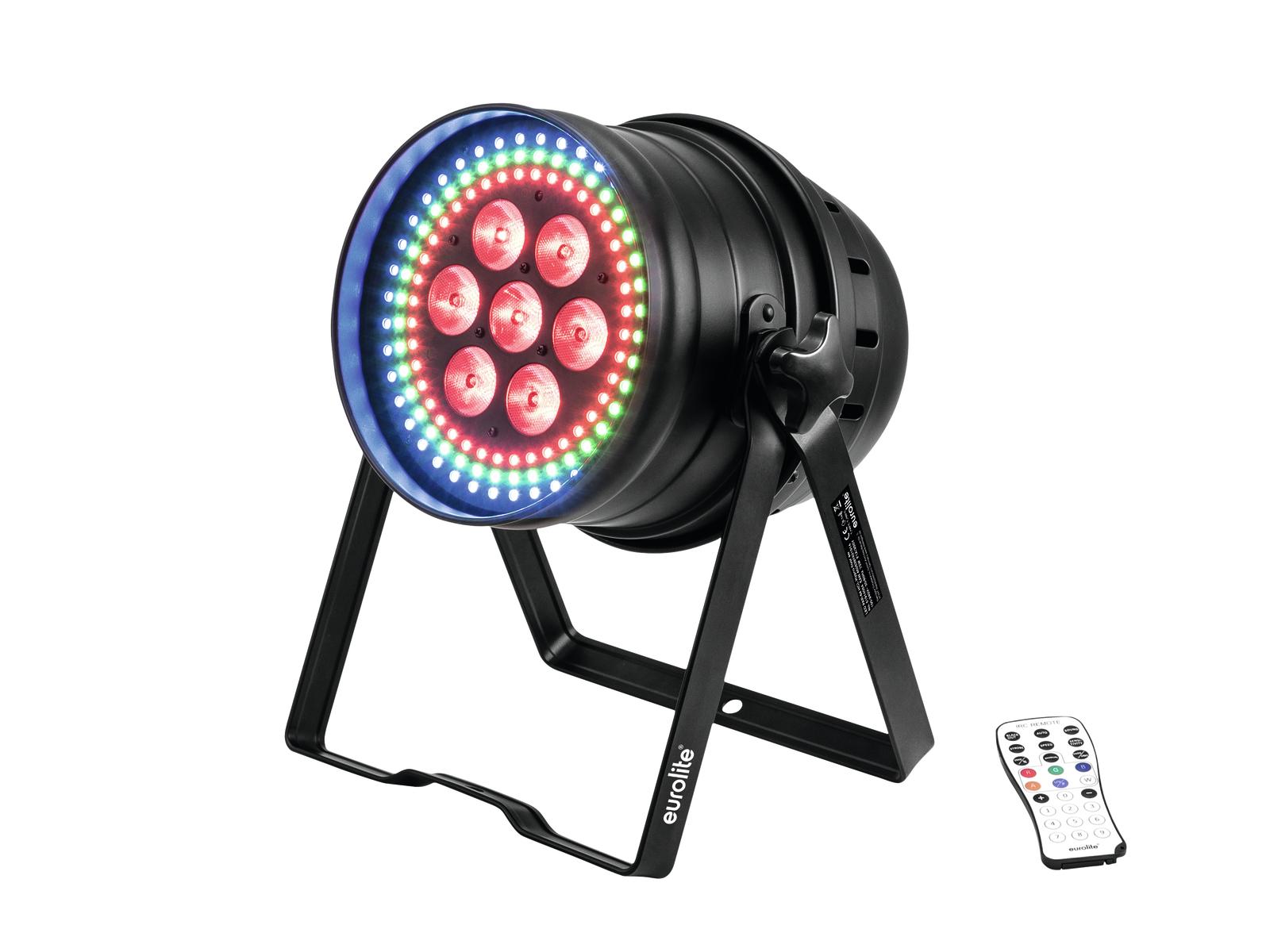 Eurolite LED PAR-64 Hypno, 7x12W HCL, krátký černý