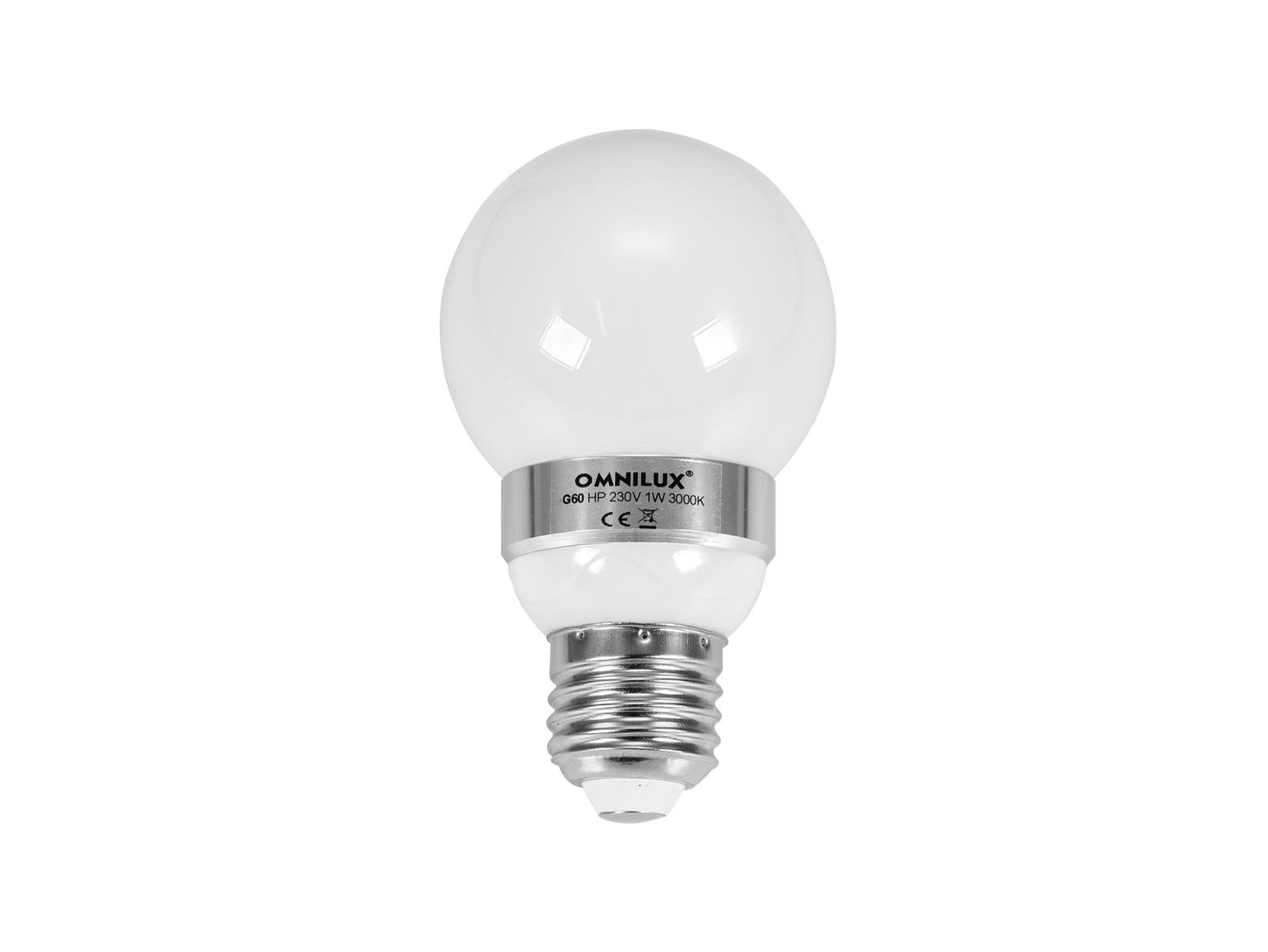 230 V, 1 W LED, E 27, 3000 K G60 Omnilux
