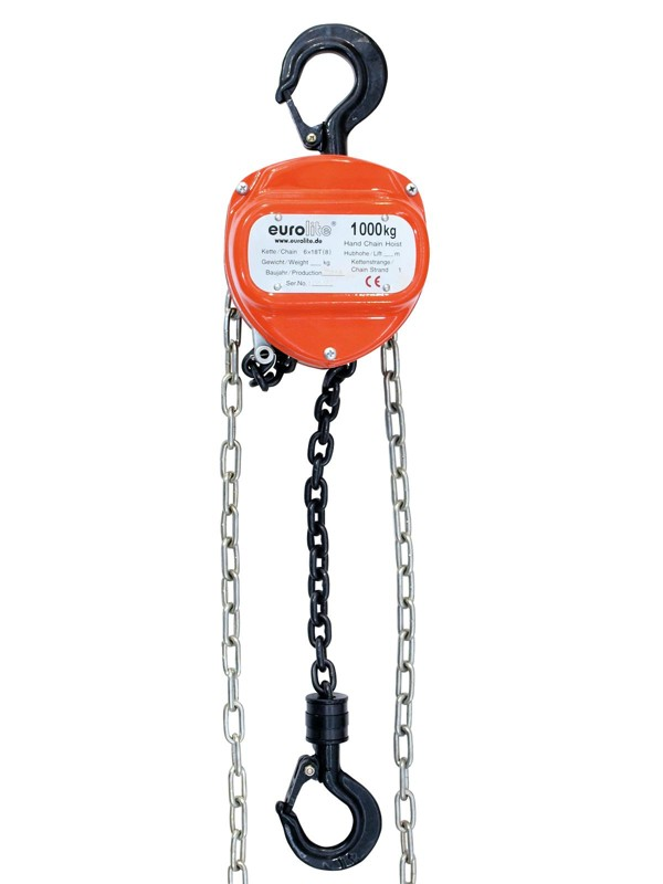 Eurolite řetězový zdvihák 10m/1000kg, oranžový