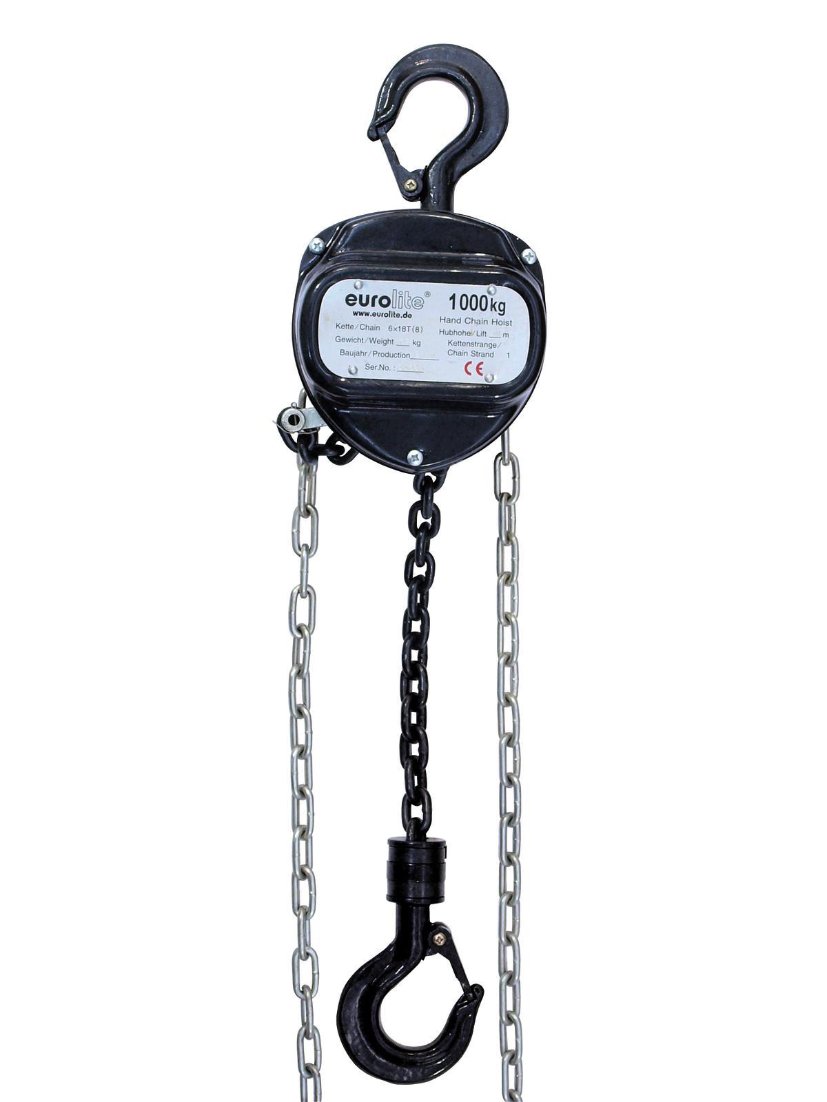 Eurolite řetězový zdvihák 10m/1000kg, černý