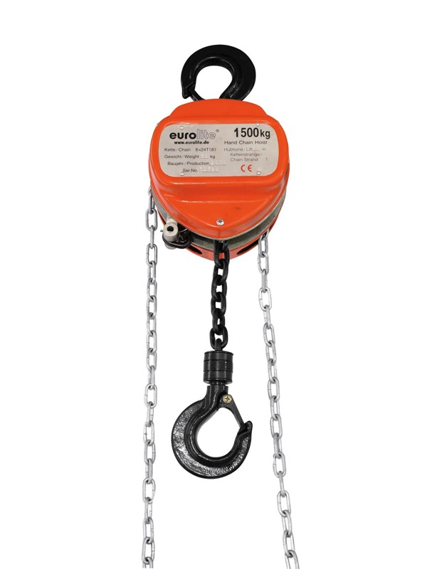 Eurolite řetězový zdvihák 10m/1500kg, oranžový