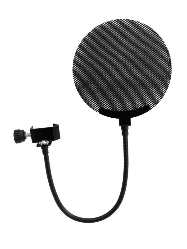 Mikrofonní pop filtr, kovový, černý