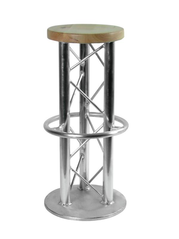 Stolička barová s kruhovou podstavou, stříbrná