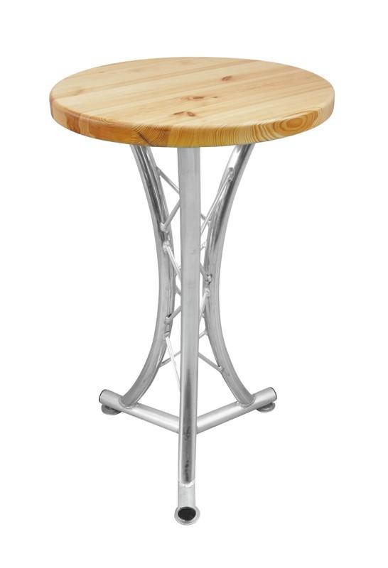 Alutruss bistro stolek, 3-nožka prohnutá