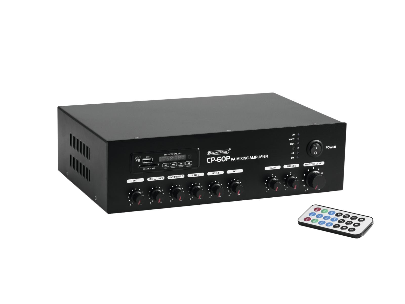 Omnitronic CP-60P PA, 100V mixážní zesilovač, 60W, BT/MP3
