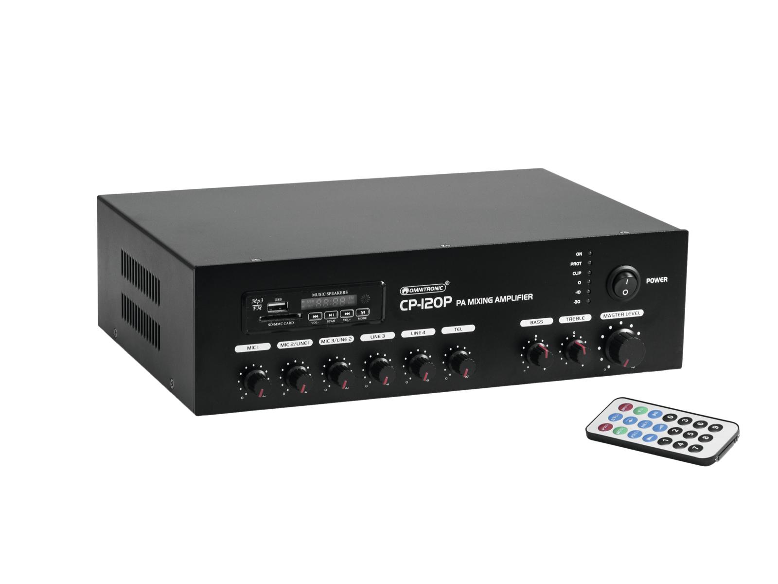 Omnitronic CP-120P, 100V PA mixážní zesilovač, 120W, BT/MP3
