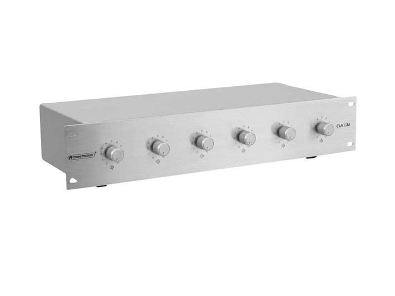 Omnitronic ELA 6M - 5 W, zónový regulátor, stříbrný