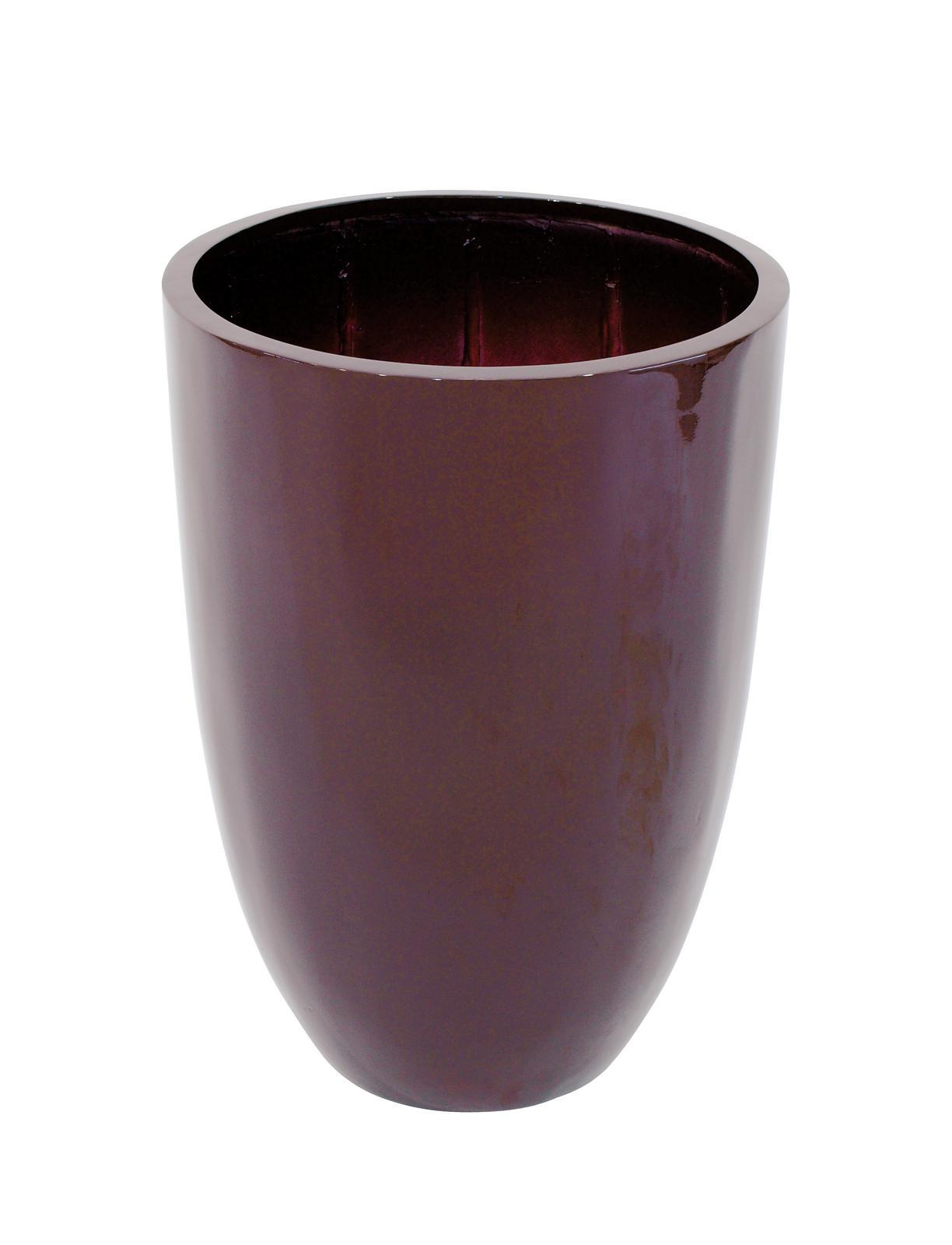 Květináč hliník-laminát, 49cm, lesklý-hnědý