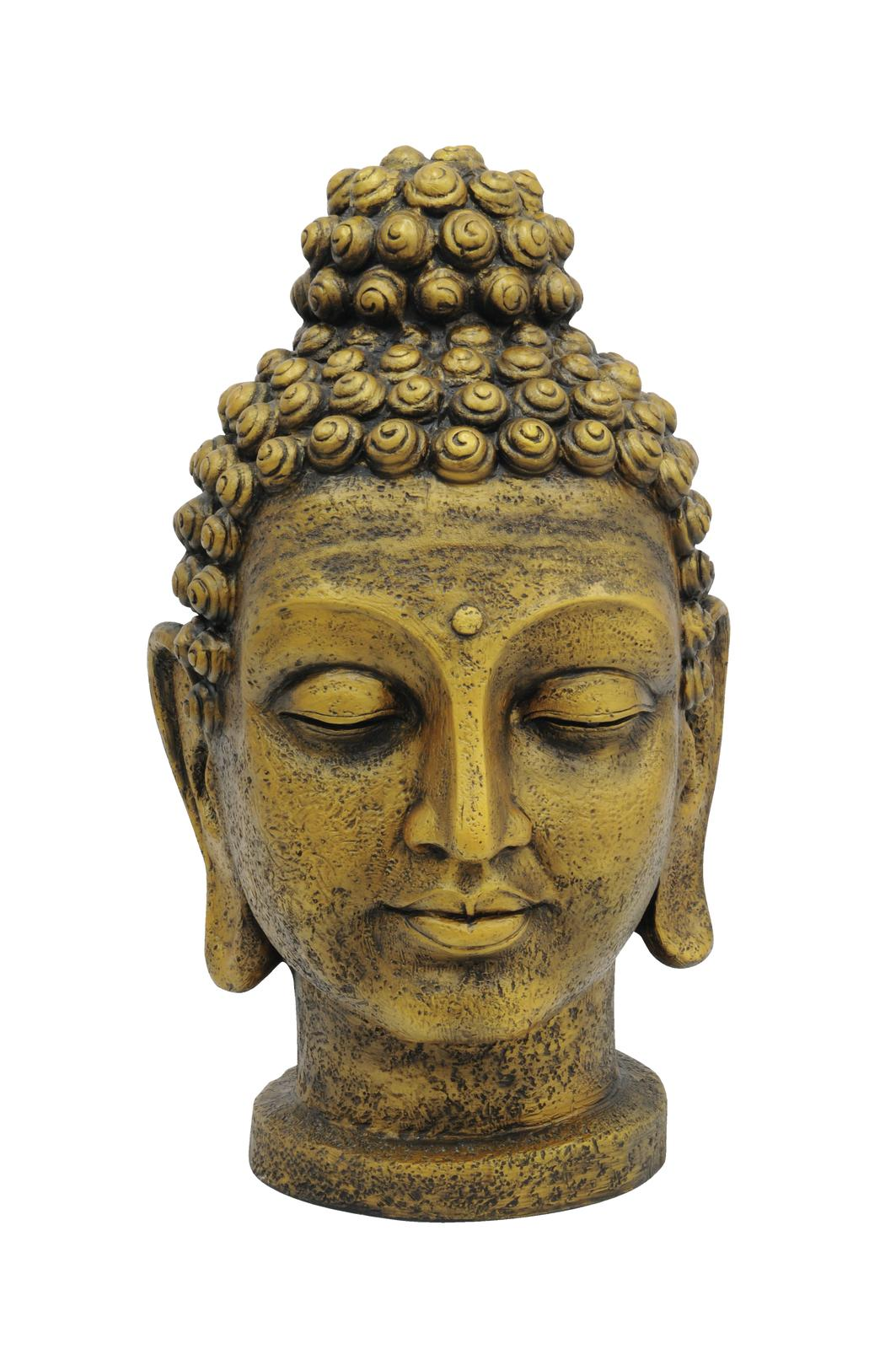 Socha hlava Budhy, zlatá, 75 cm