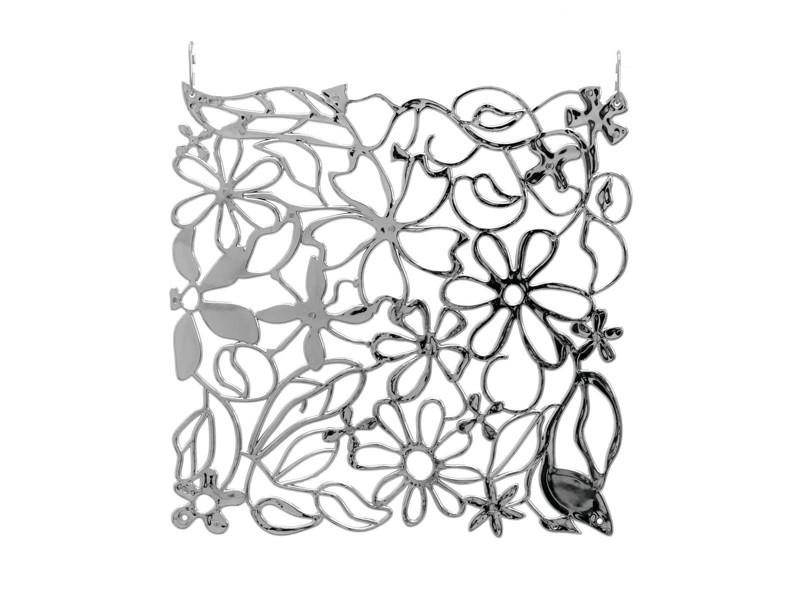 Paraván, vzor květiny, 36 x 36 cm, sada 4ks, chromová barva