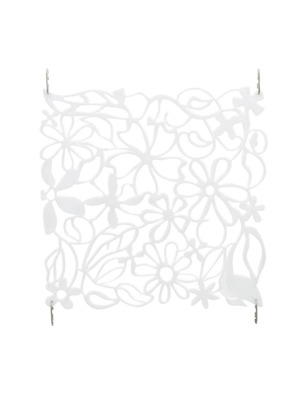 Paraván, vzor květiny, 29,5 x 29,5 cm, sada 4ks, bílá