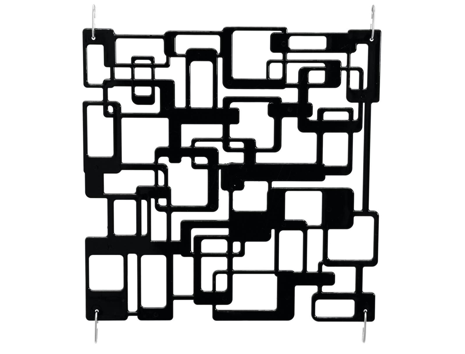Paraván, vzor labyrint, 36 x 36 cm, sada 4ks, černá