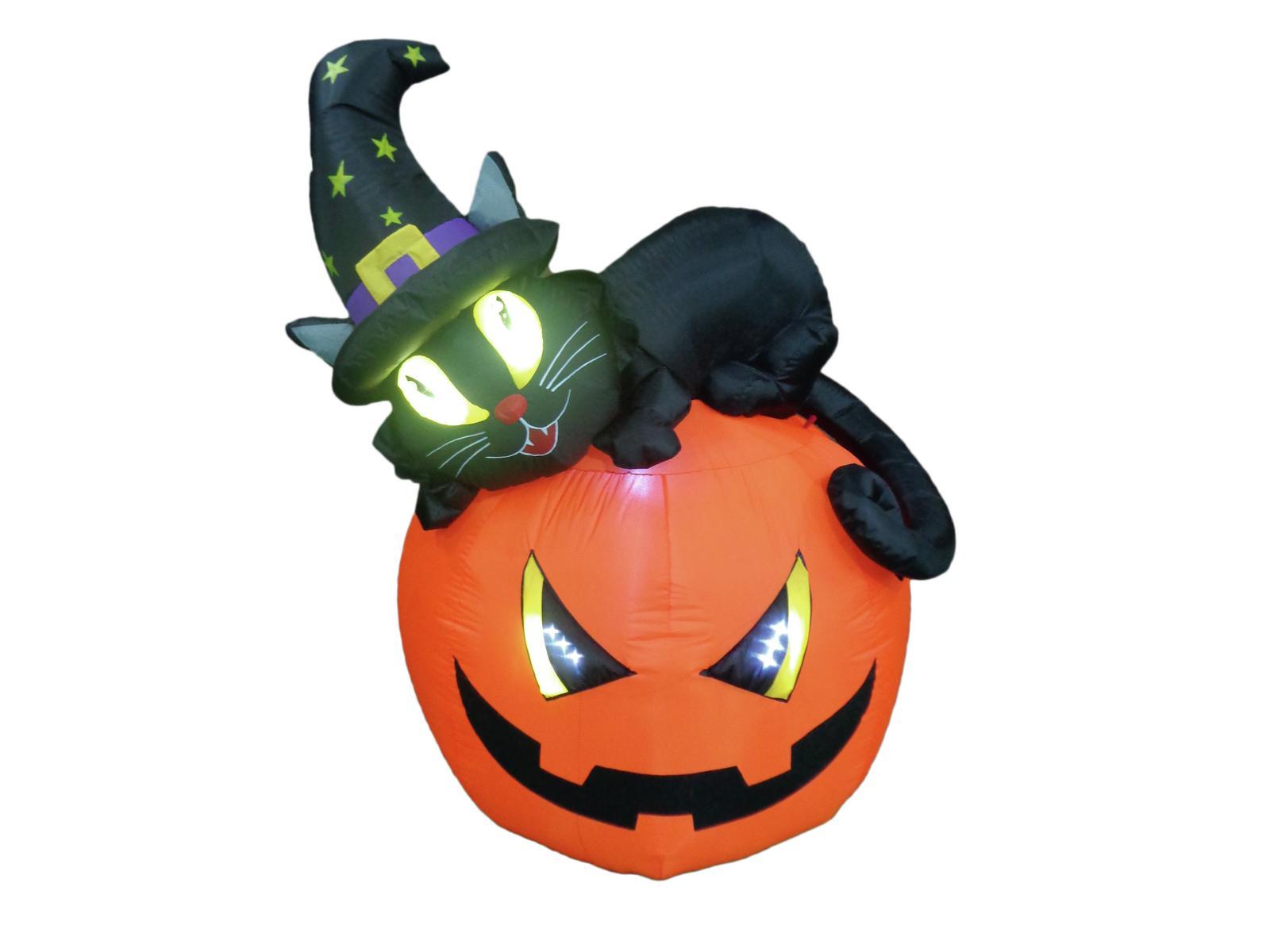 Halloween nafukovací dýně s kočkou, 150cm