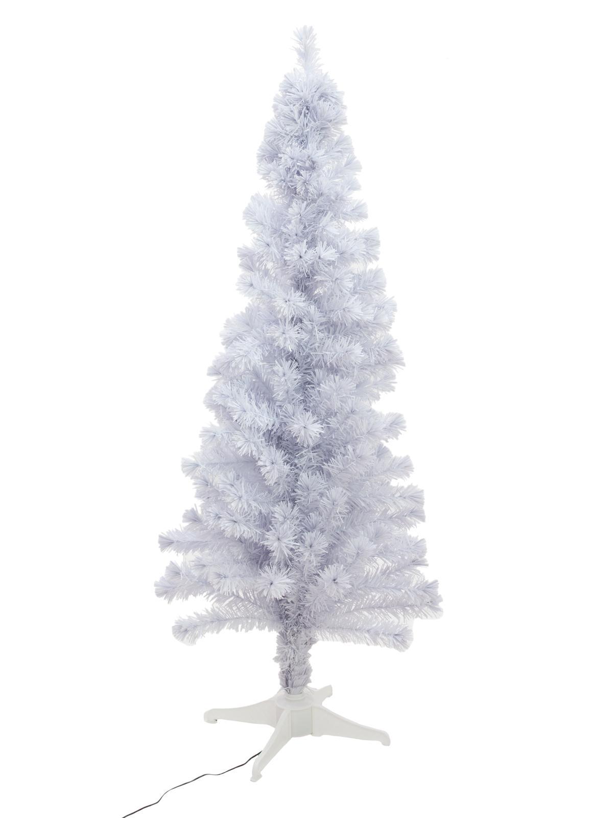 Umělý vánoční stromek s optickými LED vlákny bílý, 180 cm