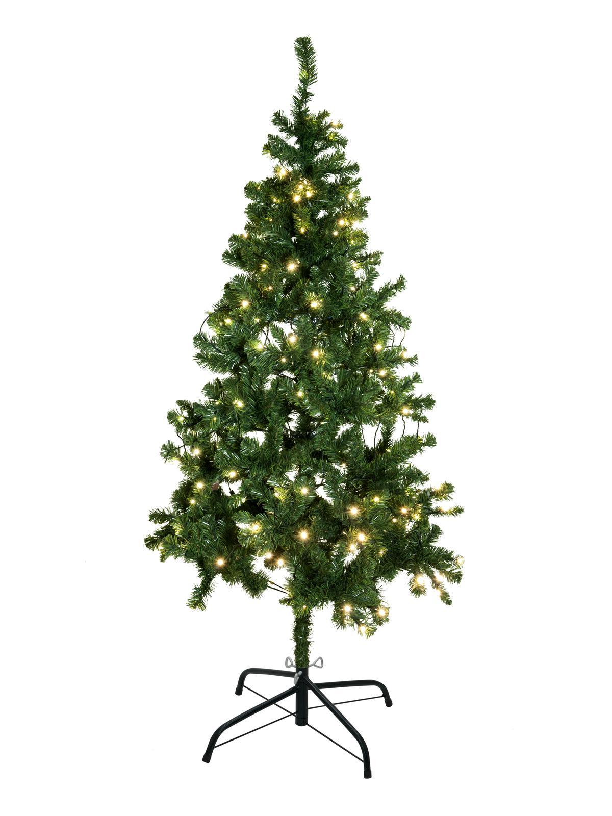 Umělý vánoční stromek s LED bílými žárovkami, 180 cm
