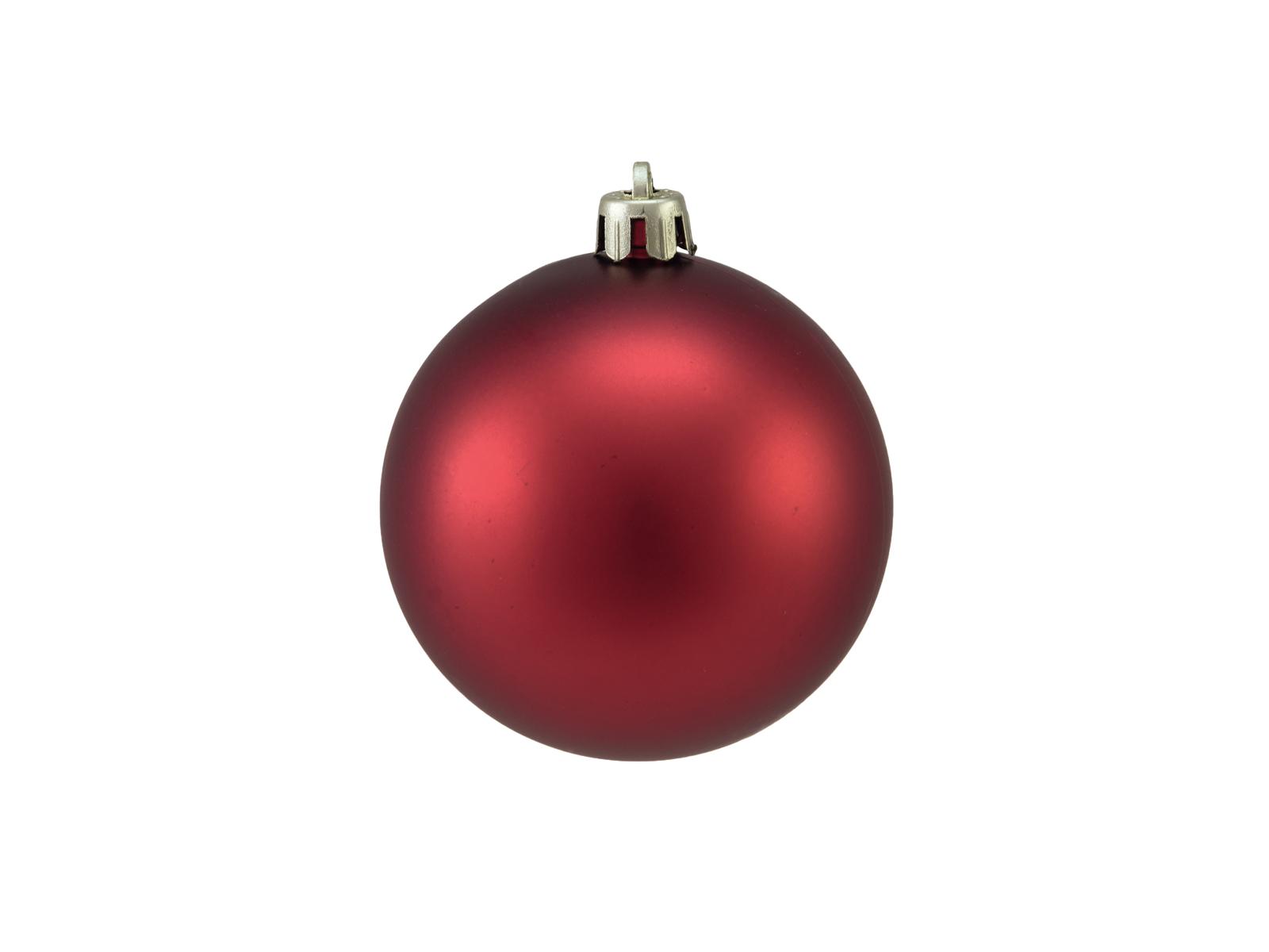 Vánoční dekorační ozdoby, 7 cm, červené matné, 6 ks