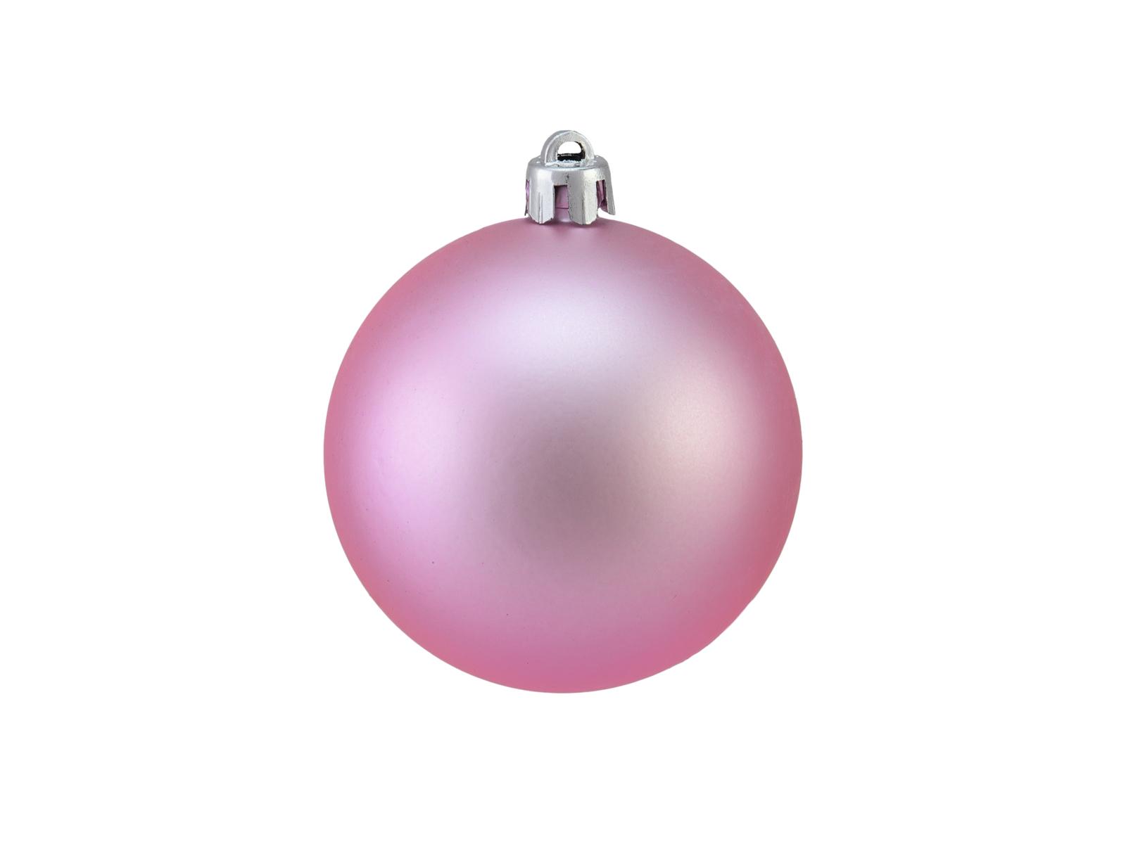 Vánoční dekorační ozdoby, 7 cm, růžové matné, 6 ks