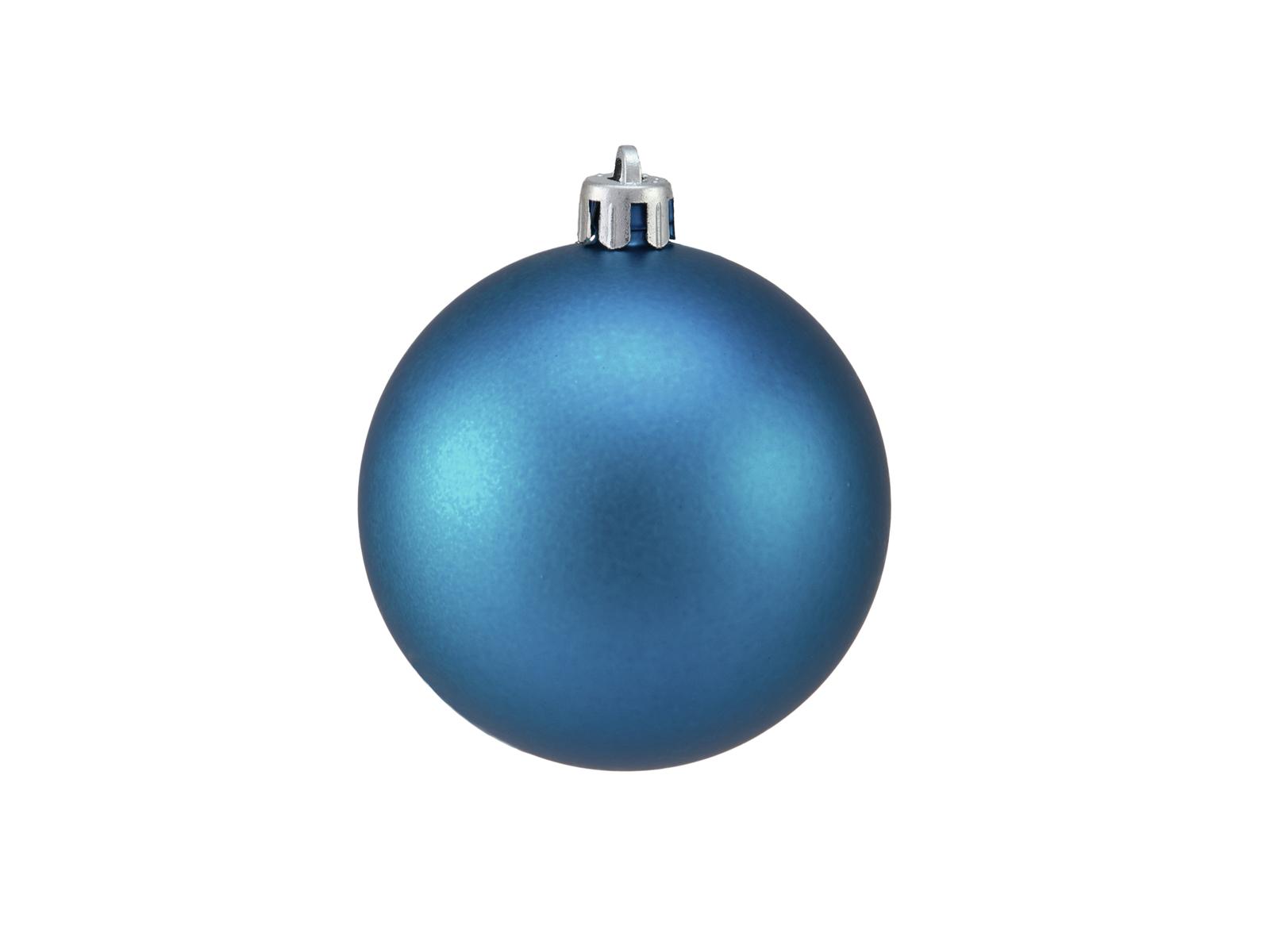 Vánoční dekorační ozdoby, 7 cm, modrá matná, 6 ks