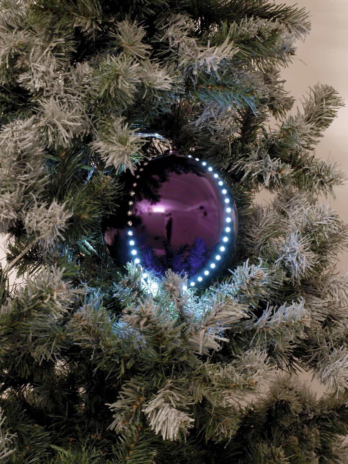 Sněhové LED koule, 8 cm, fialová, 5 ks
