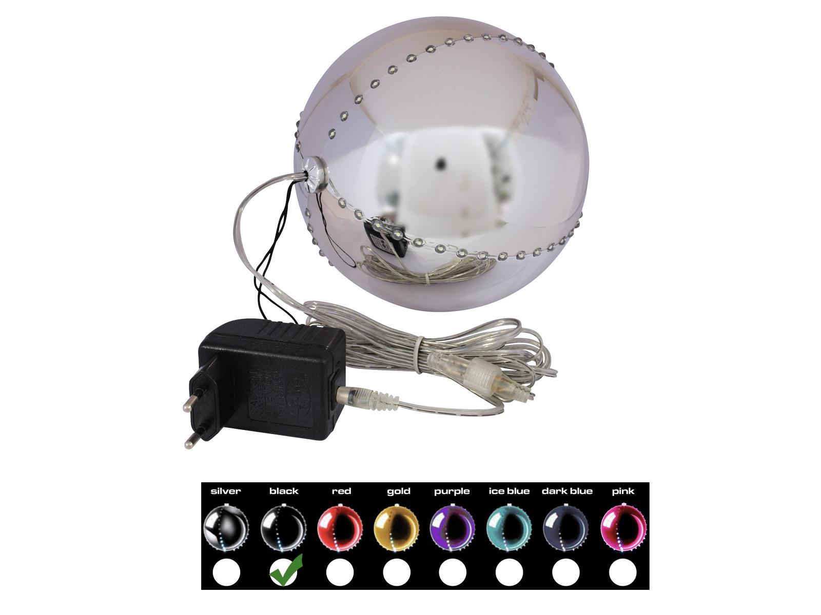 Sněhové LED koule, 15 cm, černá, 1 ks