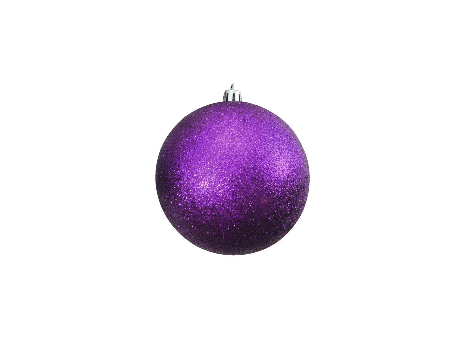 Vánoční dekorační ozdoby, 10 cm, fialové se třpytkami, 4 ks