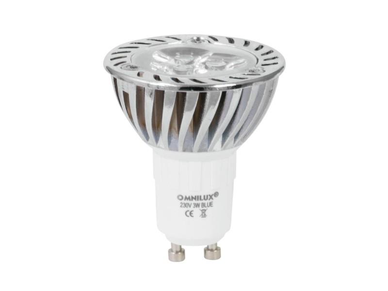 230V GU-10 3x1W LED Omnilux, modrá, chladič