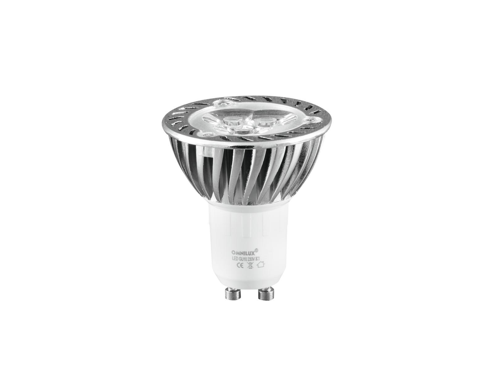 230V GU-10 3x1W LED Omnilux, zelená, chladič
