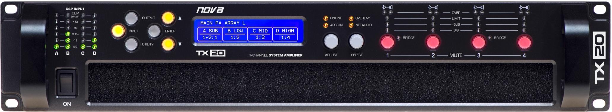 nova TX 20 DANTE+FIR, 4-kanálový zesilovač, 20kW, DSP, DANTE FIR