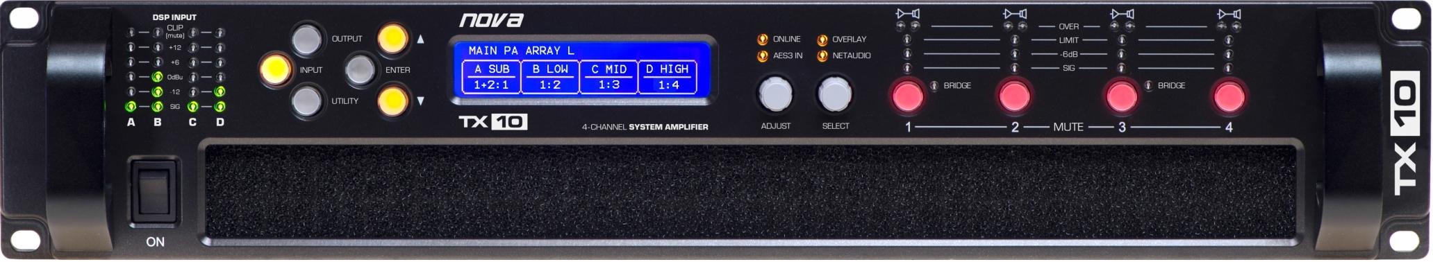 nova TX 10, 4-kanálový zesilovač, 20kW, DSP