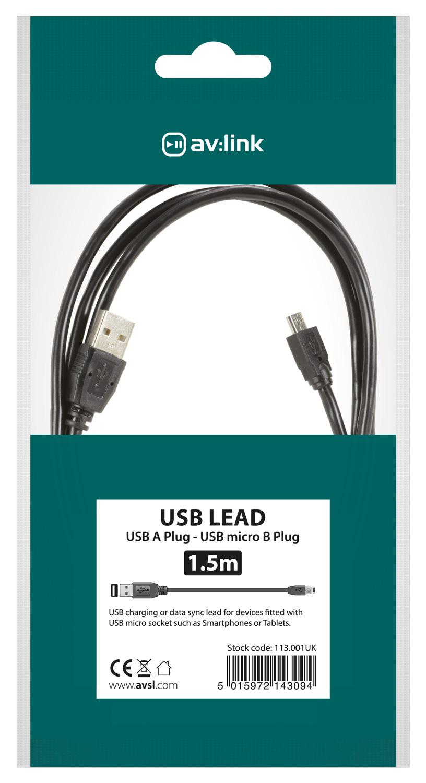 AV:link kabel USB 2.0, 1x typ A samec - 1x mikro 5-pin typ B samec, 1.5m