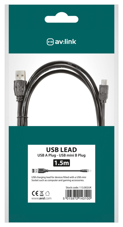AV:link kabel USB 2.0, 1x typ A samec - 1x mini 5-pin typ B samec, 1.5m