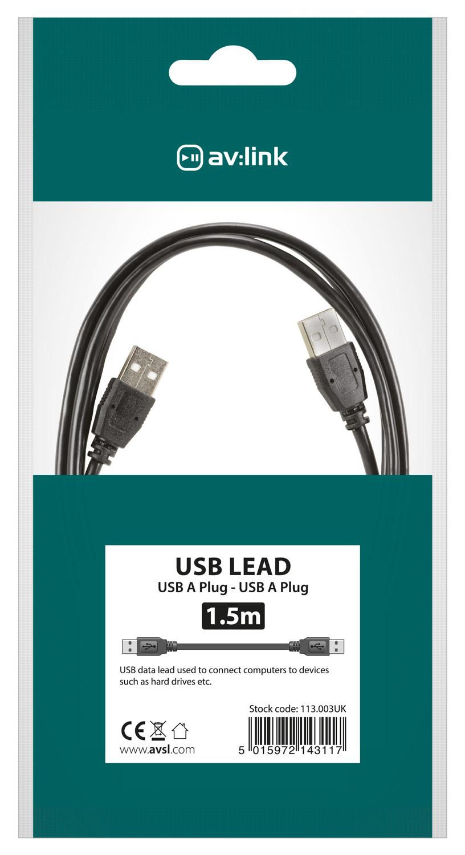 AV:link kabel USB 2.0, 1x typ A samec - 1x typ A samec, 1.5m