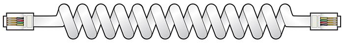AV:link kabel pro telefonní sluchátko spirálový, 2x 4P4C samec, bílý, 2m
