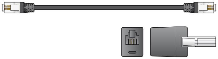 AV:link kabel telefonní 2x RJ11 6P4C samec s redukcí na BT431A, černý, 5m