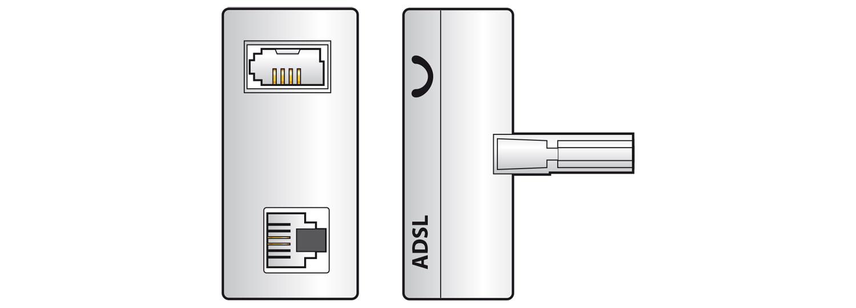 AV:link ADSL signálový filtr BT431A samec – RJ11 samice + BT431A samice