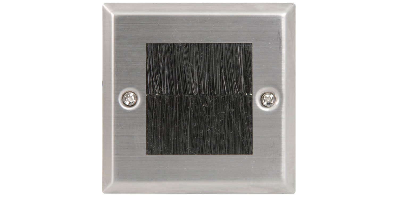 AV:link nástěnný rámeček s kartáčky pro AV kabely, kovový, 1G, blistr