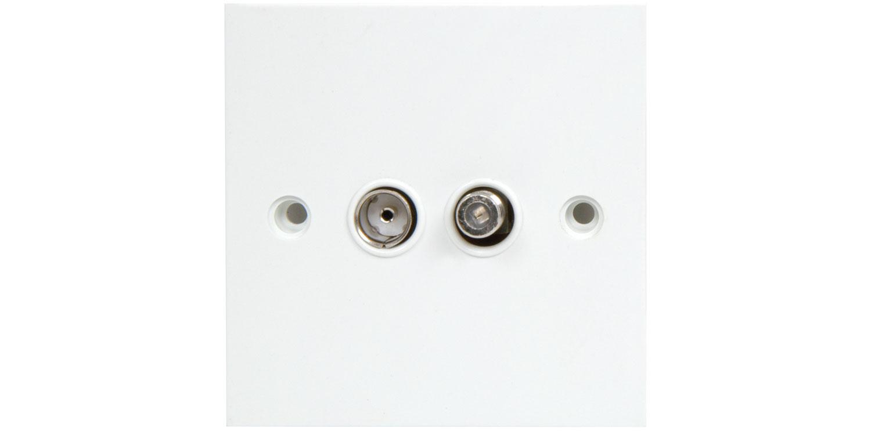 AV:link nástěnná zásuvka koaxiální/F konektor, bílá