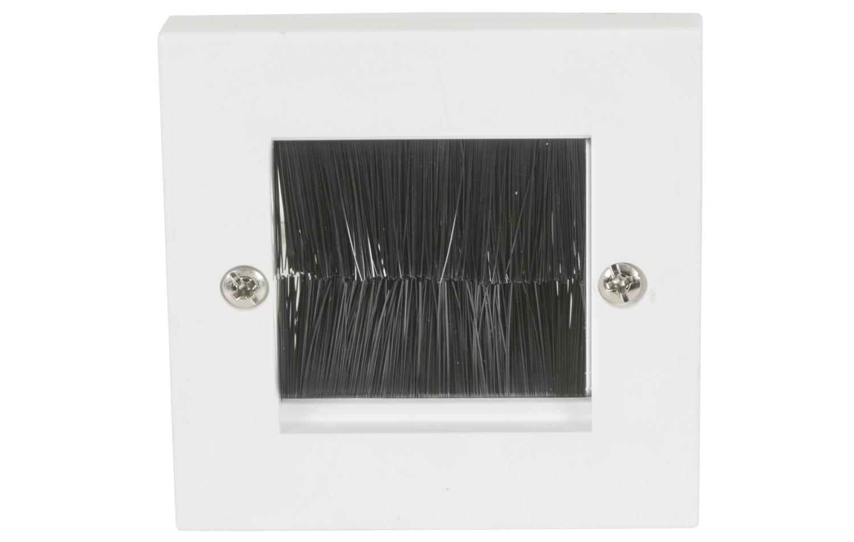 AV:link nástěnný rámeček s kartáčky pro AV kabely, bílý, 1G