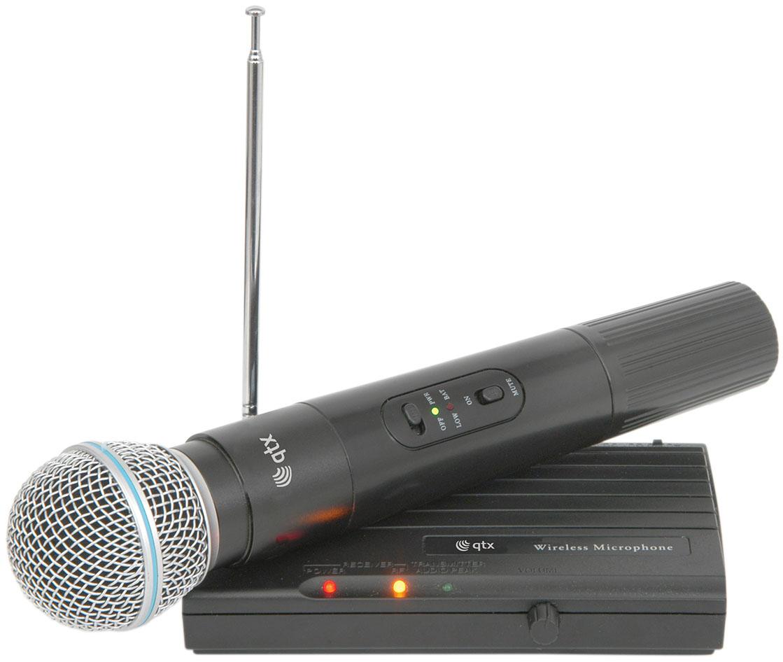 QTX VHF-45, bezdrátový 1 kanálový VHF mikrofon s frekvencí 174,5 M