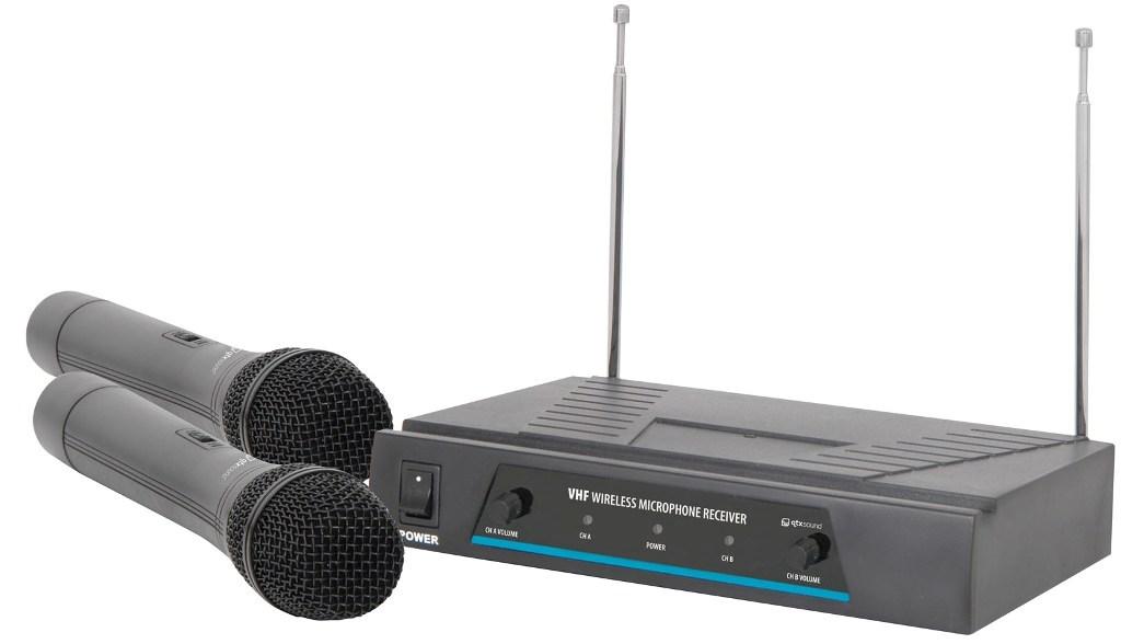 QTX VHF-2, bezdrátový 2 kanálový VHF mikrofon s frekvencemi 174,1 + 175 MHz