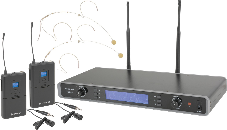 Citronic laditelný UHF náhlavní mikrofon, 2 kanálový, 81 frekvencí